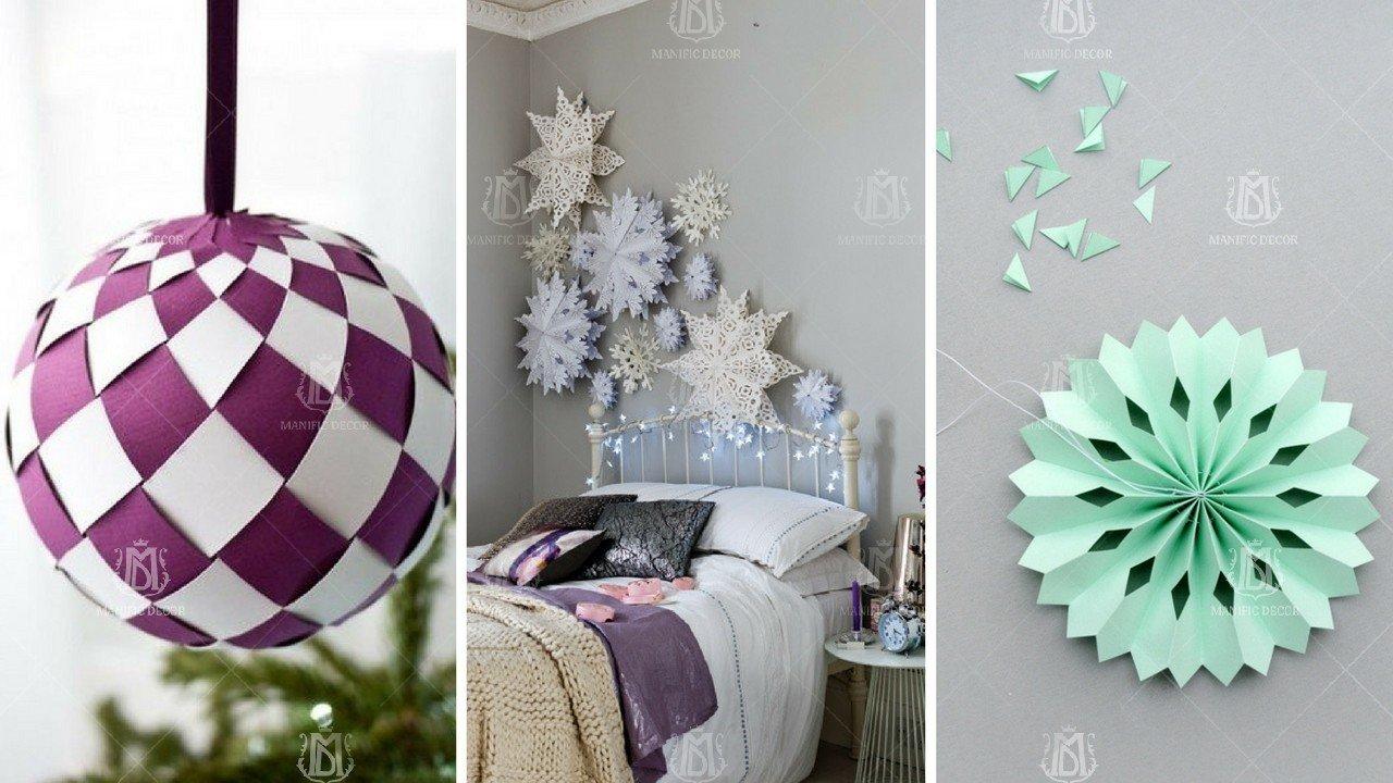 Новогодние шары и снежинки из бумаги